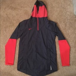 Nike Men's Windbreaker Hoodie Jacket Navy/Red